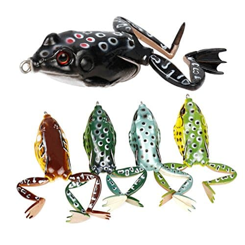 RUNCL Anchor Box - Topwater Frog Lures, Soft Fishing Lure Kit - Weedless Design, Life-Like 3D Eyes/Swimming Actions, Tackle Box - Bass Pike Snakehead Dogfish Musky Fishing (Pack of 5)