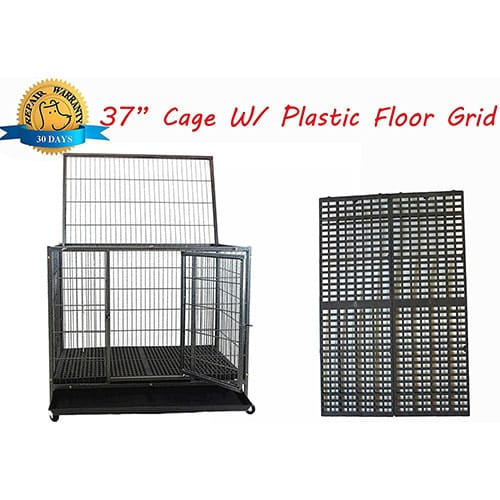 Open Top Pet Kennel With Grate Flooring, Tray, and Casters by Homey Pet