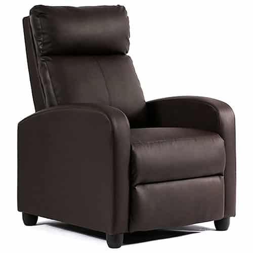 SINGLE RECLINING SOFA LEATHER CHAIR WITH PADDED SEAT BACKREST