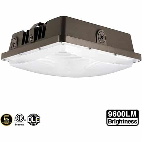 LED Canopy Light 80W,ETLus-Listed and DLC-Qualified,5000K Daylight White, 9600Lumen, 120-277VAC,175-450W MH/HPS/HID Replacement