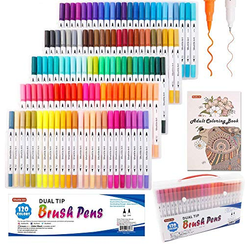 120 Colours Dual Tip Brush Art Marker Pens with 1 Colouring Book