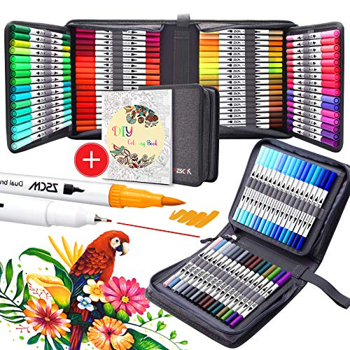 100 Colours Paint Markers Brush Pens, ZSCM Dual Tips Fine Point Water Based Art Markers